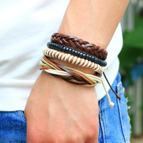 Casual Leather Black Multilayer Braid Wrap Bracelets Rope Chain - Custom Made | Free Shipping