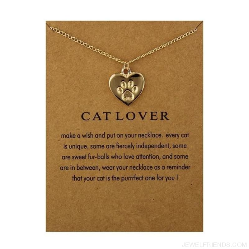 Cat Lover Paw Heart Necklace - Have Card Gold - Custom Made | Free Shipping