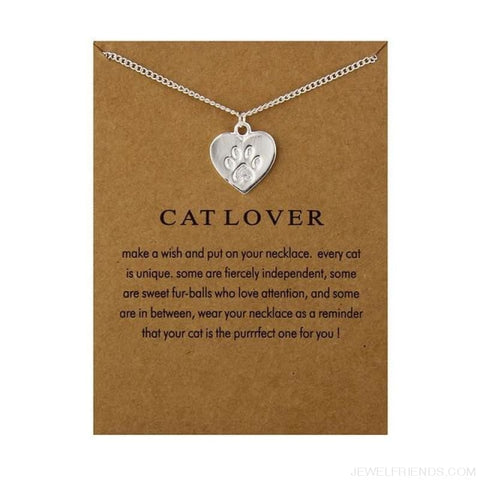 Image of Cat Lover Paw Heart Necklace - Have Card Silver - Custom Made | Free Shipping