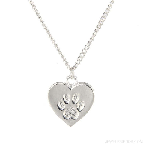 Cat Lover Paw Heart Necklace - Custom Made | Free Shipping