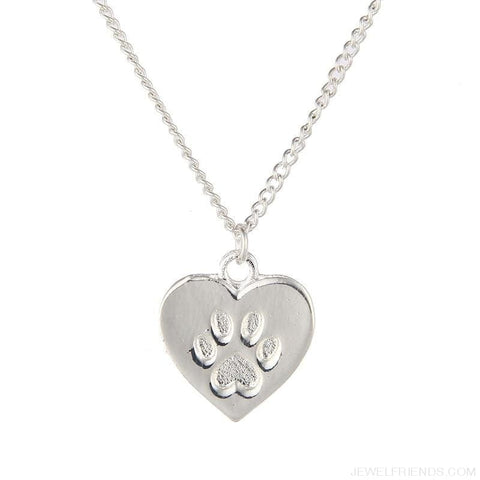 Image of Cat Lover Paw Heart Necklace - Custom Made | Free Shipping