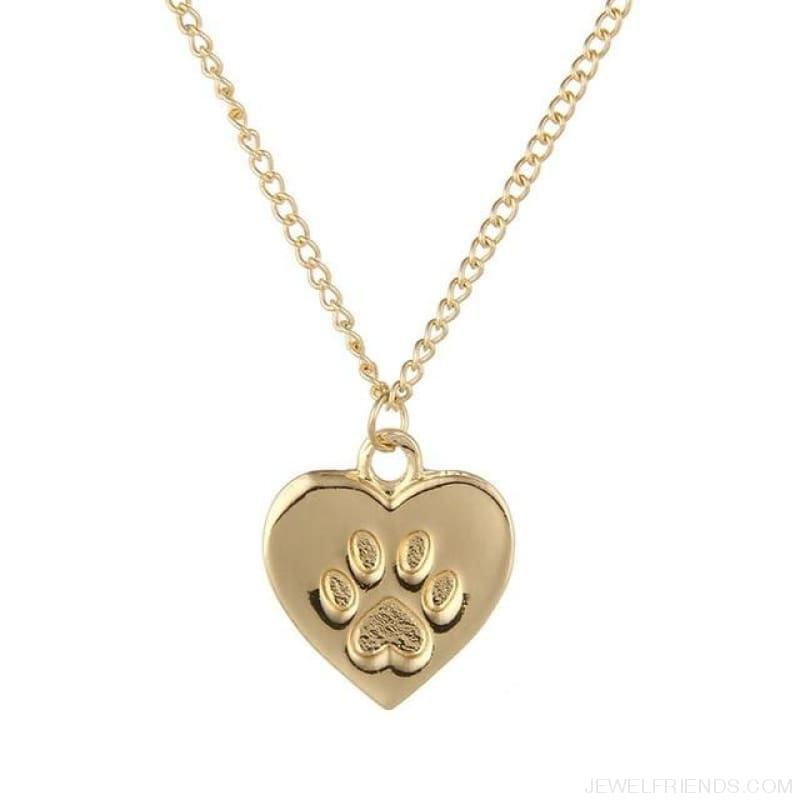 Cat Lover Paw Heart Necklace - No Card Gold - Custom Made | Free Shipping
