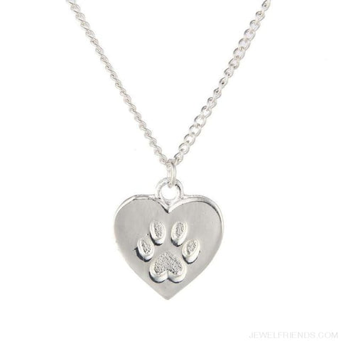 Cat Lover Paw Heart Necklace - No Card Silver - Custom Made | Free Shipping