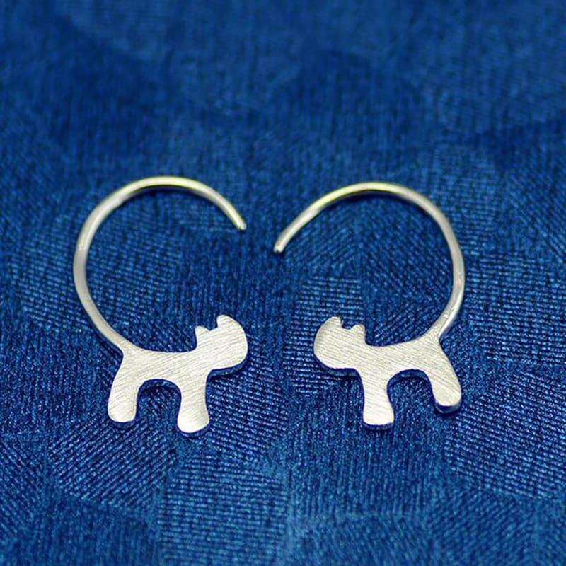 Cat Silhoutte Tail Hoop Earring - Custom Made | Free Shipping