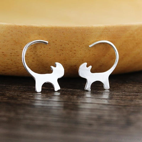 Image of Cat Silhoutte Tail Hoop Earring - Custom Made | Free Shipping