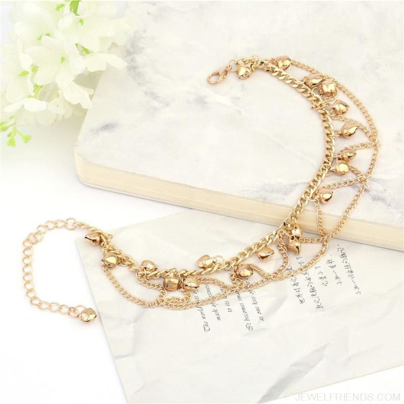 Chain Bells Sound Gold Metal Chain Anklet - Custom Made | Free Shipping