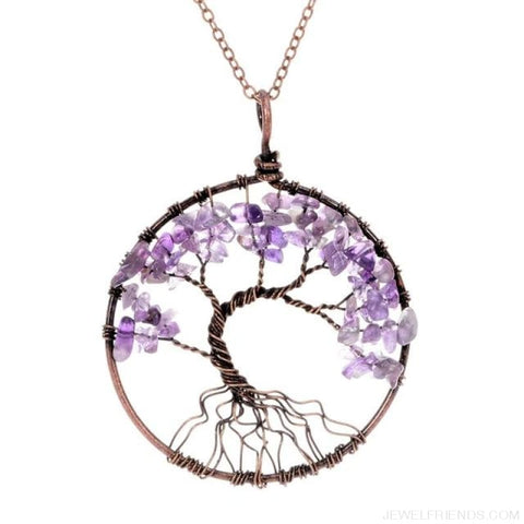 Image of Chakra Tree Of Life Pendant Necklace - Amethyst - Custom Made | Free Shipping