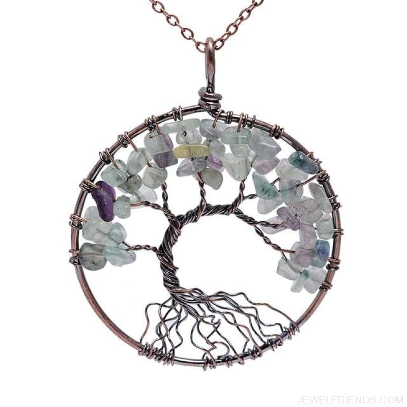 Chakra Tree Of Life Pendant Necklace - Fluorite - Custom Made | Free Shipping