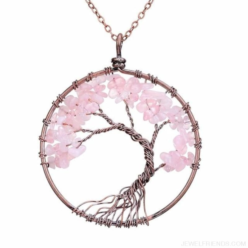 Chakra Tree Of Life Pendant Necklace - Pink Crystal - Custom Made | Free Shipping