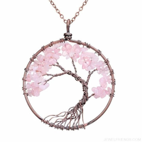 Image of Chakra Tree Of Life Pendant Necklace - Pink Crystal - Custom Made | Free Shipping
