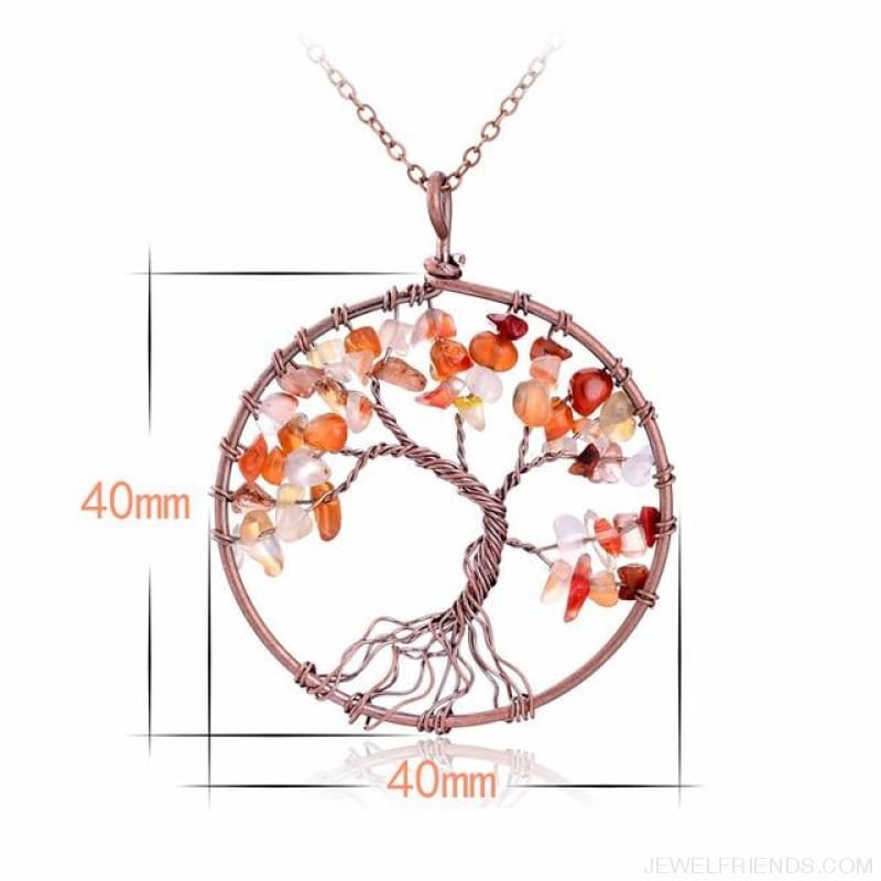 Chakra Tree Of Life Pendant Necklace - Red Agate - Custom Made | Free Shipping