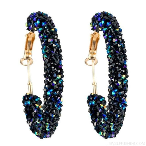 Image of Charm Austrian Crystal Hoop Earrings - Blue - Custom Made | Free Shipping