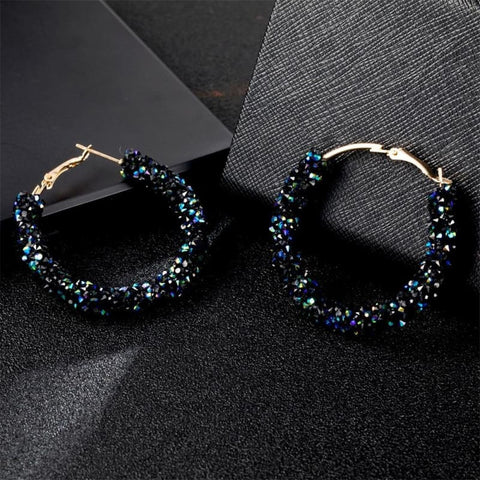 Image of Charm Austrian Crystal Hoop Earrings - Custom Made | Free Shipping