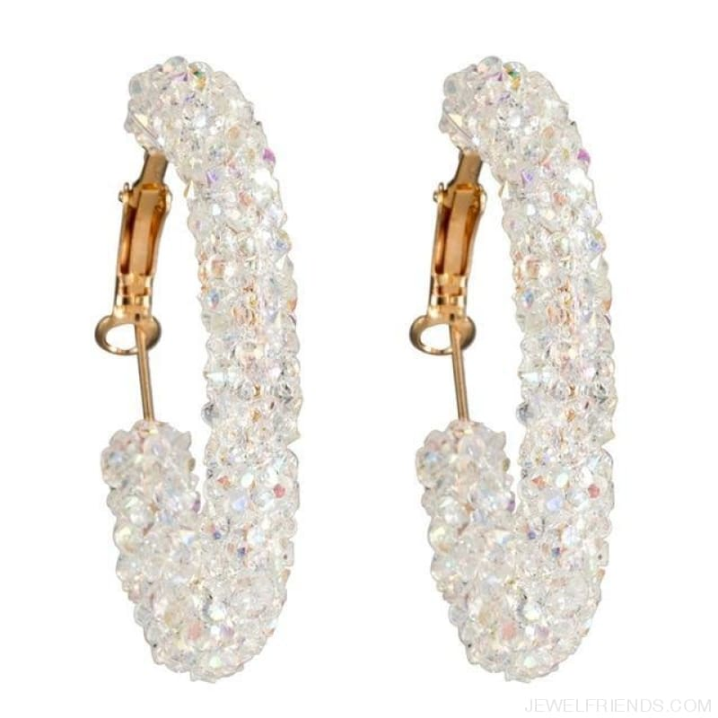 Charm Austrian Crystal Hoop Earrings - White - Custom Made | Free Shipping