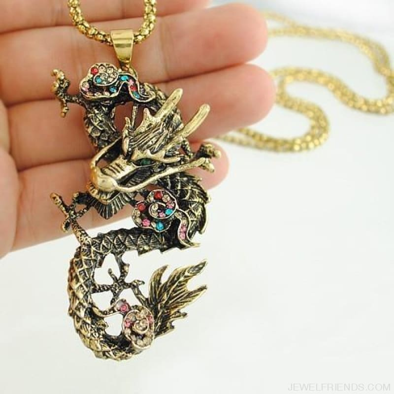 Chinese Style Dragon Pendant Long Necklace - Gold - Custom Made | Free Shipping