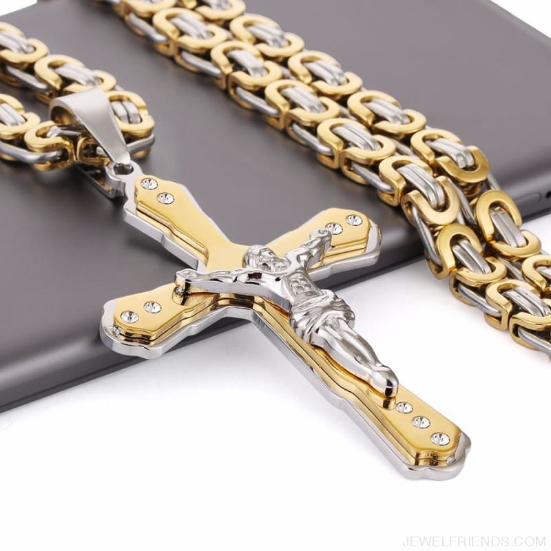 Christian Jesus Cross Pendant Necklaces Thick Link Byzantine Chain - Custom Made | Free Shipping
