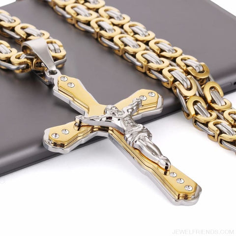 Image of Christian Jesus Cross Pendant Necklaces Thick Link Byzantine Chain - Custom Made | Free Shipping
