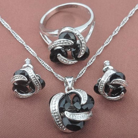 Classic Multicolor Rainbow Zircon 925 Sterlig Silver Jewelry Sets - Black Stone / 9 - Custom Made | Free Shipping