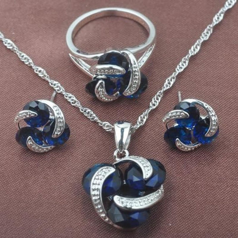 Classic Multicolor Rainbow Zircon 925 Sterlig Silver Jewelry Sets - Blue Stone / 9 - Custom Made | Free Shipping