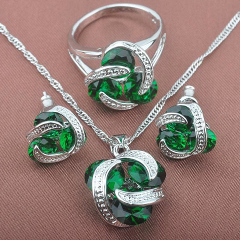 Classic Multicolor Rainbow Zircon 925 Sterlig Silver Jewelry Sets - Green Stone / 9 - Custom Made | Free Shipping