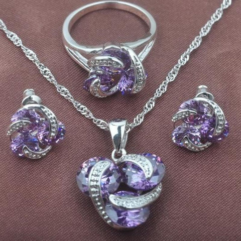 Classic Multicolor Rainbow Zircon 925 Sterlig Silver Jewelry Sets - Purple Stone / 9 - Custom Made | Free Shipping