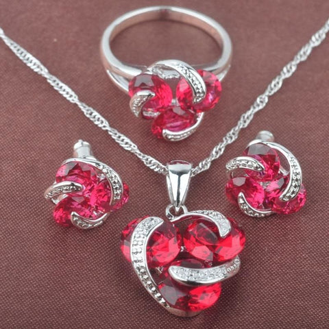Classic Multicolor Rainbow Zircon 925 Sterlig Silver Jewelry Sets - Rose Red Stone / 9 - Custom Made | Free Shipping