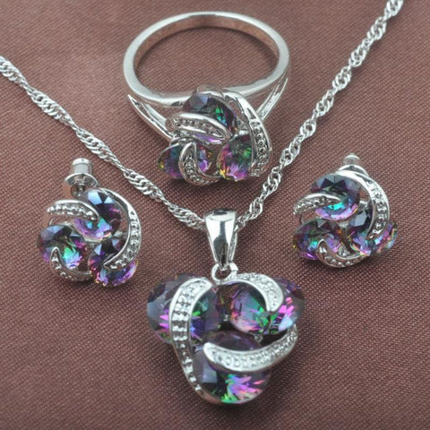 Classic Multicolor Rainbow Zircon 925 Sterlig Silver Jewelry Sets - Rainbow Stone / 9 - Custom Made | Free Shipping