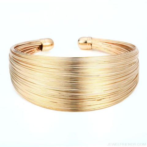 Classic Opening Alloy Wide Cuff Bracelet - Gold - Custom Made | Free Shipping