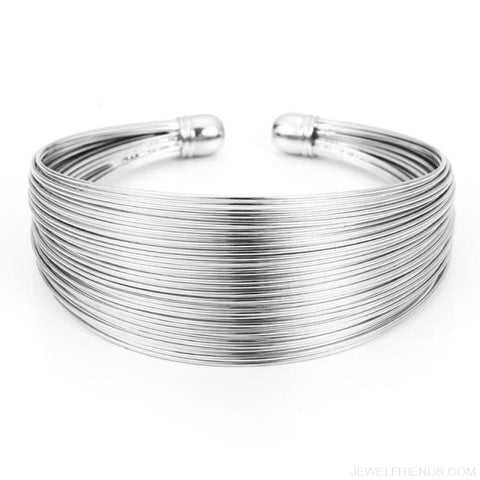 Image of Classic Opening Alloy Wide Cuff Bracelet - Silver - Custom Made | Free Shipping