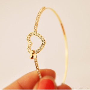 Classic Style Gold Rhinestone Love Heart Bangle Bracelet