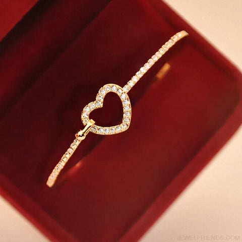 Classic Style Gold Rhinestone Love Heart Bangle Bracelet - Custom Made | Free Shipping