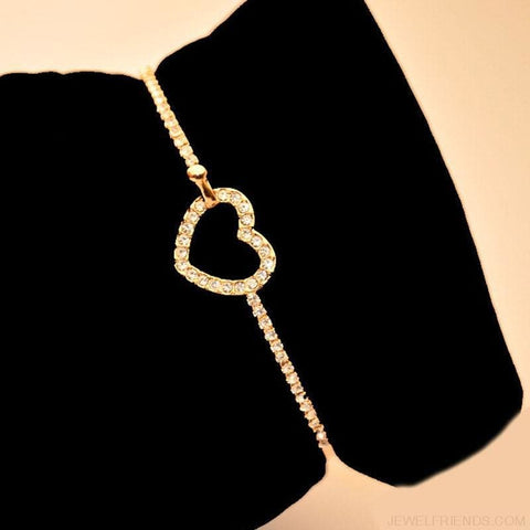 Image of Classic Style Gold Rhinestone Love Heart Bangle Bracelet - Custom Made | Free Shipping