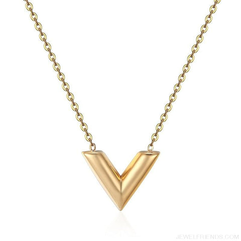 Classic V Letter Shape Stainless Steel Necklace - Gold / 45Cm - Custom Made | Free Shipping