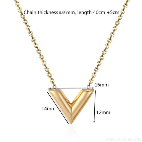 Classic V Letter Shape Stainless Steel Necklace - Custom Made | Free Shipping