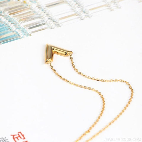Image of Classic V Letter Shape Stainless Steel Necklace - Custom Made | Free Shipping