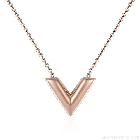 Classic V Letter Shape Stainless Steel Necklace - Rose Gold / 45Cm - Custom Made | Free Shipping