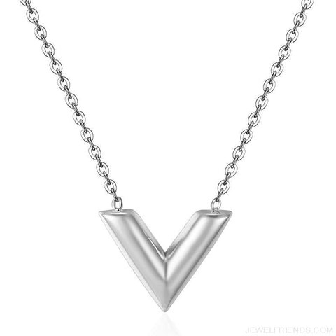 Classic V Letter Shape Stainless Steel Necklace - Silver / 45Cm - Custom Made | Free Shipping