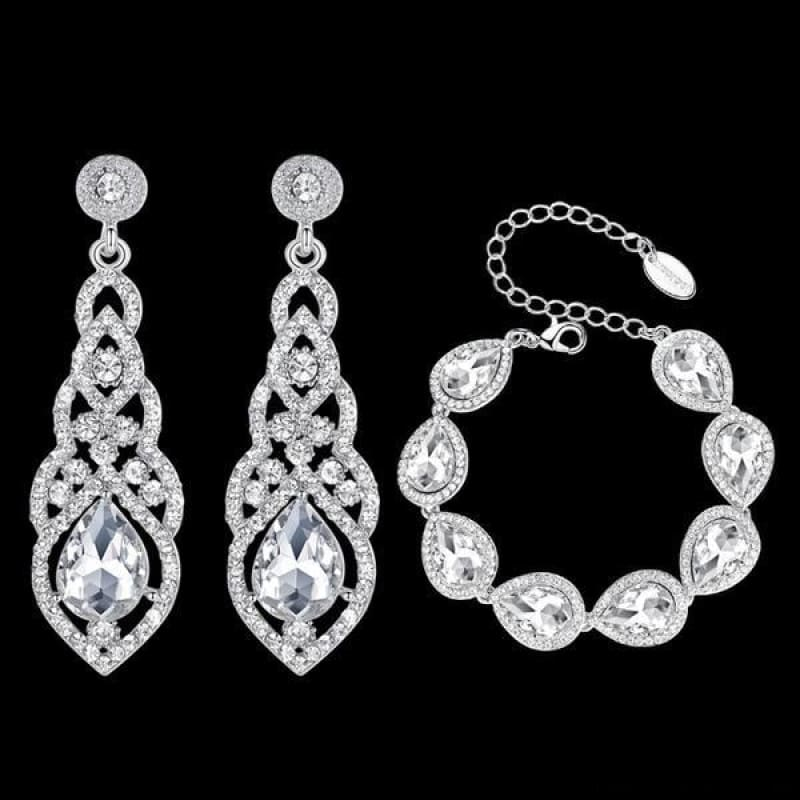 Clear Crystal Bridal Jewelry Sets Teardrop - Custom Made | Free Shipping