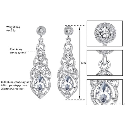 Image of Clear Crystal Bridal Jewelry Sets Teardrop - Custom Made | Free Shipping