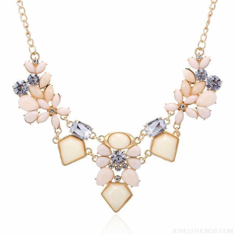 Colorful Gem Flower Statement Necklaces - Beige - Custom Made | Free Shipping