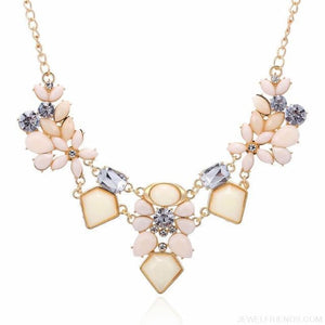 Colorful Gem Flower Statement Necklaces