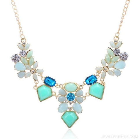 Colorful Gem Flower Statement Necklaces - Blue - Custom Made | Free Shipping