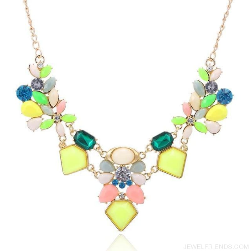 Colorful Gem Flower Statement Necklaces - Colorful - Custom Made | Free Shipping