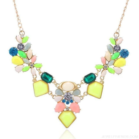 Image of Colorful Gem Flower Statement Necklaces - Colorful - Custom Made | Free Shipping
