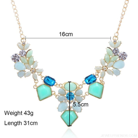 Colorful Gem Flower Statement Necklaces - Custom Made | Free Shipping