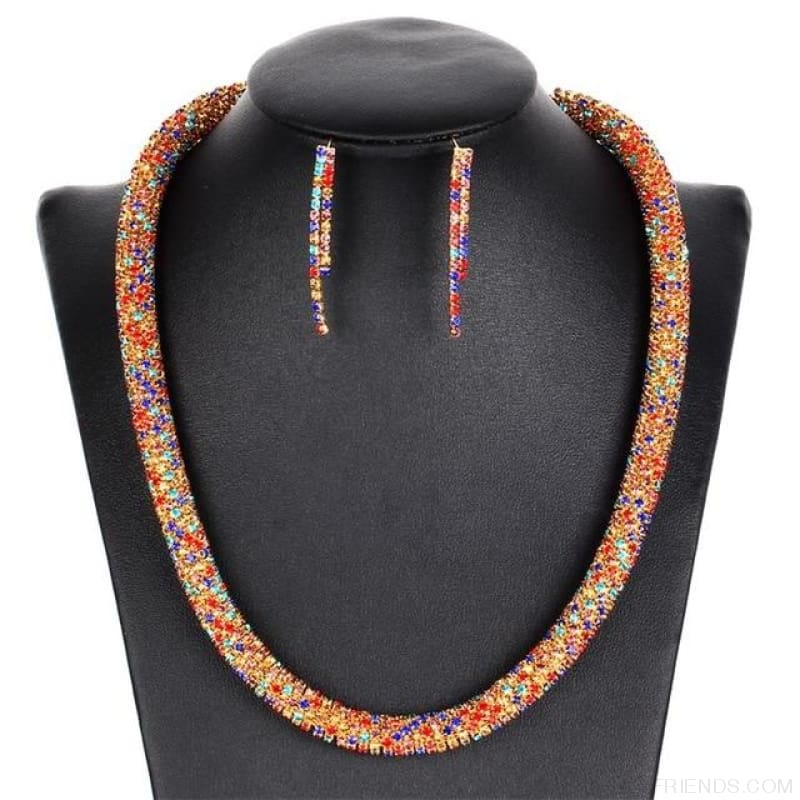 Colorful Sparkling Crystal Necklace Earrings Set - F1003 - Custom Made | Free Shipping