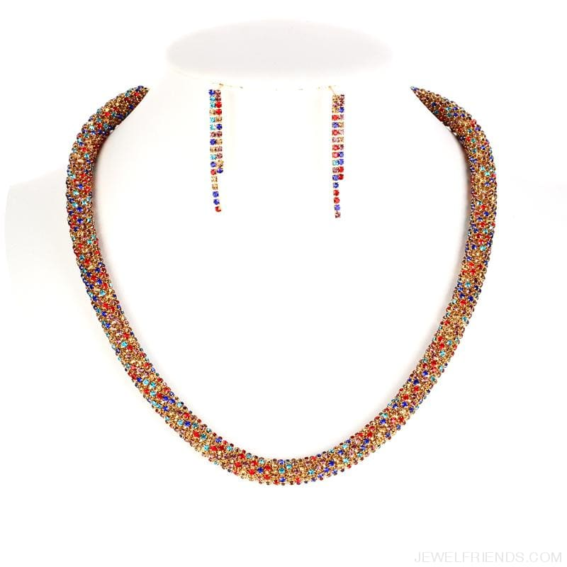 Colorful Sparkling Crystal Necklace Earrings Set - Custom Made | Free Shipping