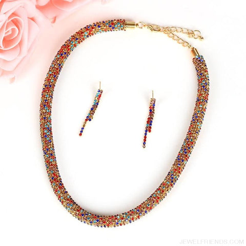 Image of Colorful Sparkling Crystal Necklace Earrings Set - Custom Made | Free Shipping