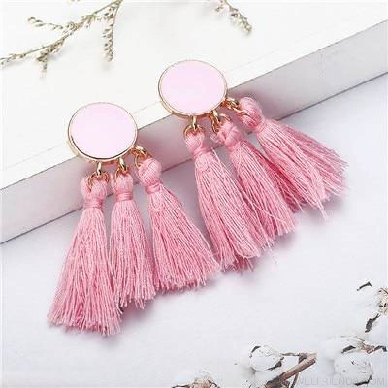 Colorful Tassel Round Drop Earrings - A - Custom Made | Free Shipping