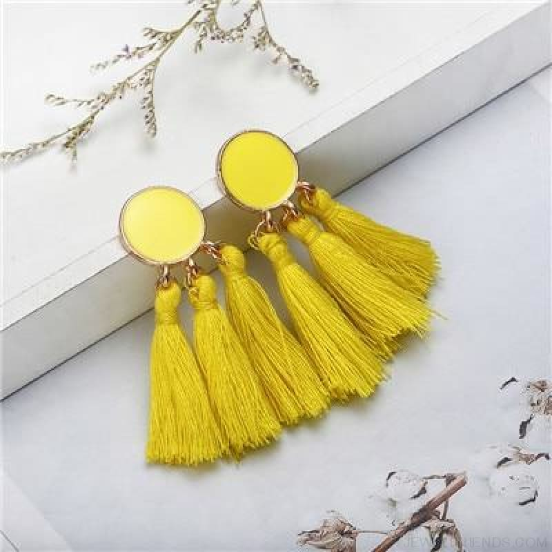 Colorful Tassel Round Drop Earrings - B - Custom Made | Free Shipping